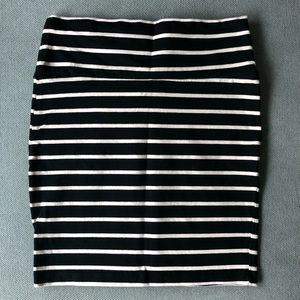 Charlotte Russe Black & White Striped Skirt